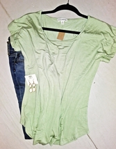 Soft Green Scoop Neck Top, Loose Fit, Short Sleeve, Womens, Colbert Clothing