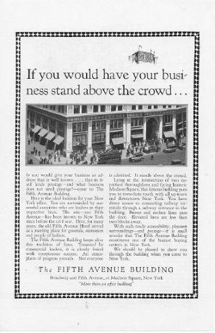 1927 Fifth Avenue Building New York 3 Vintage Ads