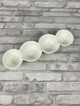 4 Bowl Crate & Barrel Connected Condiment Dish Porcelain NWT 429-813 - $14.29