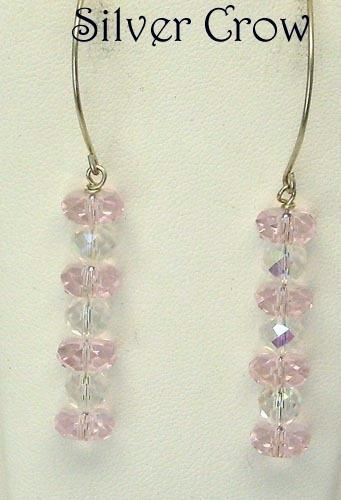 Big Pink Crystal & Argentium Sterling Silver Earrings