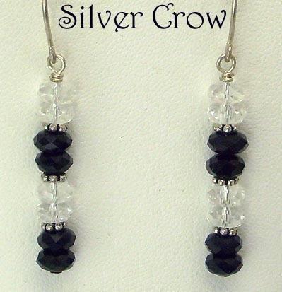 Black, Clear Crystal & Argentium Sterling Silver Earrings   Bling
