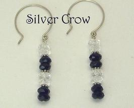Black, Clear Crystal & Argentium Sterling Silver Earrings   Bling   - $13.99