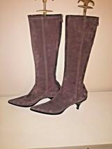 Prada Miu Miu Boots Brown Suede Kitten Heel Rear Zip Calf High Boots Size 37.5 - $93.14