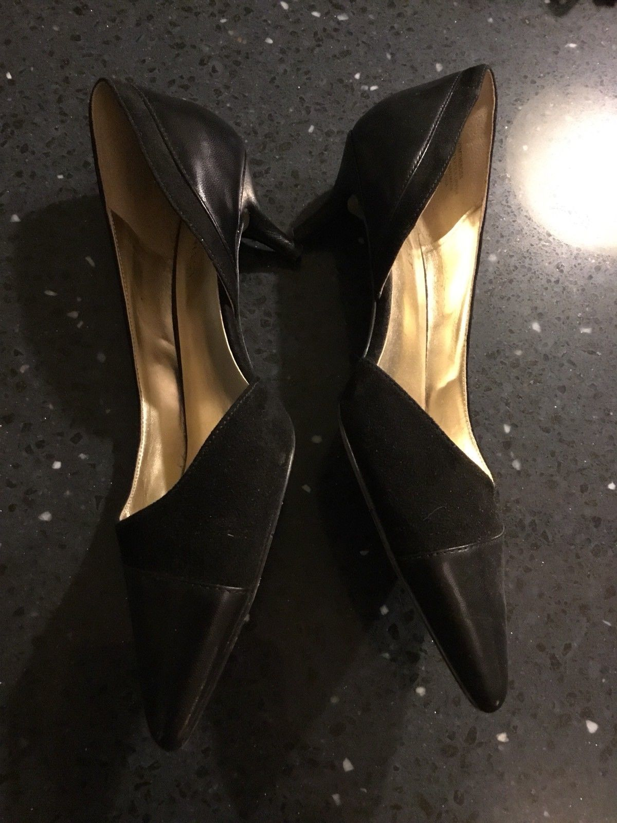 Nine West Black Leather Suede I'm The Boss Pointed Kitten Heel Size 7