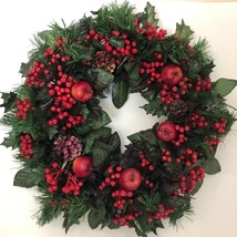 Vintage Plastic Christmas Wreath Green Leaves Apples Pine Cones Red Berr... - $78.21