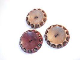 Vintage 3 Large Brown Gold and Burgundy 2 Holes... - $4.50