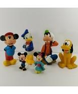 Walt Disney Toy Figure Lot Mickey Mouse Donald Duck Goofy Pluto Mini Rub... - $10.40