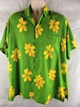 Creations Terivoile Short Sleeve Button Hawaiian Aloha Shirt SZ L Green ... - $19.75