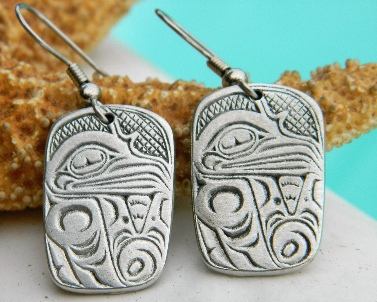 Aztec eagle bird symbol earrings cuauhtli pewter