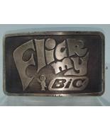 Vintage Flick My Bic Cigarette Lighter Advertising Belt Buckle (F1) - $14.84