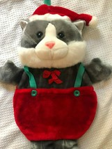 Vintage Christmas Kitty Cat Plush Stocking Overalls Suspenders Santa Hat... - $34.64