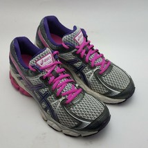 Asics Womens Size 9.5 Gel flux Running Shoes Sneakers gray pink purple  - $34.87