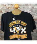 Reebok Pittsburgh Penguins Mens M Black 2016 Stanley Cup 4x Champions T-... - $13.50