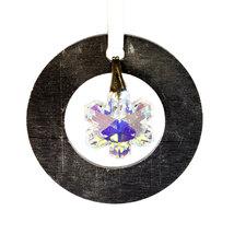 Small Aluminum and Crystal Circle Ornament  Snowflake image 1