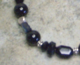 Black Onyx Gemstone,Crystal & Acrylic Sterling Silver Bracelet