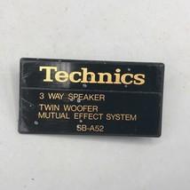 Vintage Technics SB-A52 Altavoz Placa Emblema Insignia - $39.09