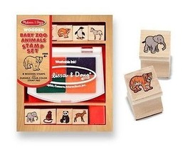 Baby Zoo Animals Wooden Stamp Set + FREE Melissa & Doug Mini Scratch Art - $9.85