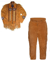 New Men's Native American Buckskin Brown Suede Leather Jacket & Pant WS23 - $197.01+