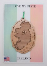 Ireland Wood Ornament Clover Heart Made in USA - $11.95