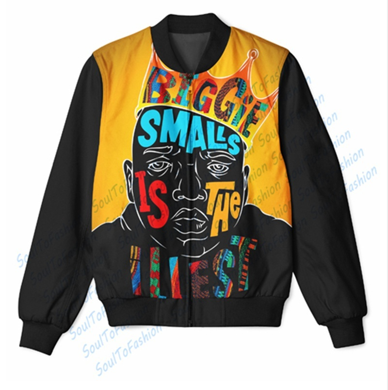 Wholesale Custom Made Notorious B.I.G. 3D Sublimation Print Zipper Up Jacket For