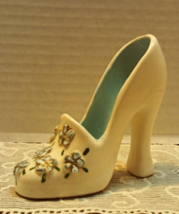 Vintage Decorative High Heeled Shoe // 1950s Flowered Shoe // Fancy Ceramic Shoe - $8.25