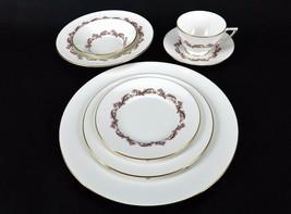 Minton Pink LAURENTIAN 7 Piece Place Setting Plates, Bowls, Cup & Saucer Vintage - $58.75