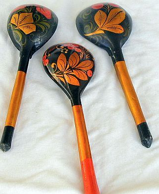 3  decorative wood spoons