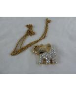 "Vintage Elephant Brooch Pin goldtone w Rhinestones 1.5  X 2"" on nice chain - $13.85"