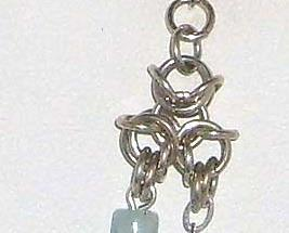 Chainmail Earrings in Argentium Sterling & Amazonite  Chainmaille