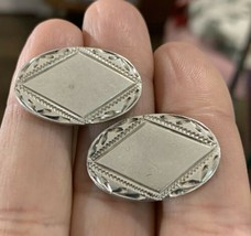 Vintage Sterling Silver Oval Cufflinks Mexico Signed - $28.97