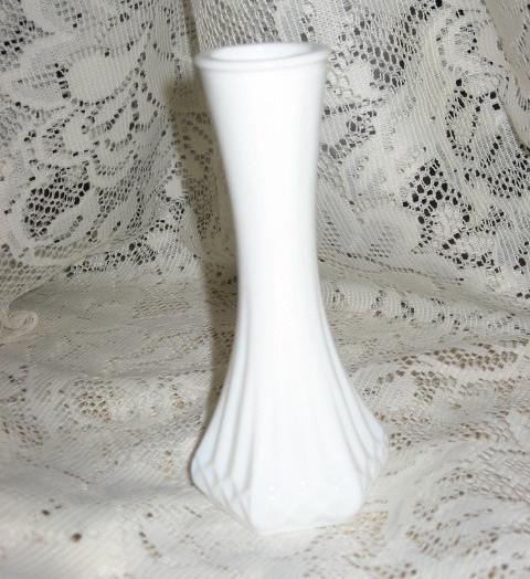 Hoosier Glass -Bud Vase-Milk Glass - 6 in - USA - $11.00