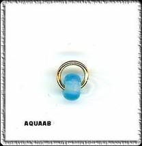 AQUA AB  Security Ring w BEAD Nail Dangle art charm - $2.99
