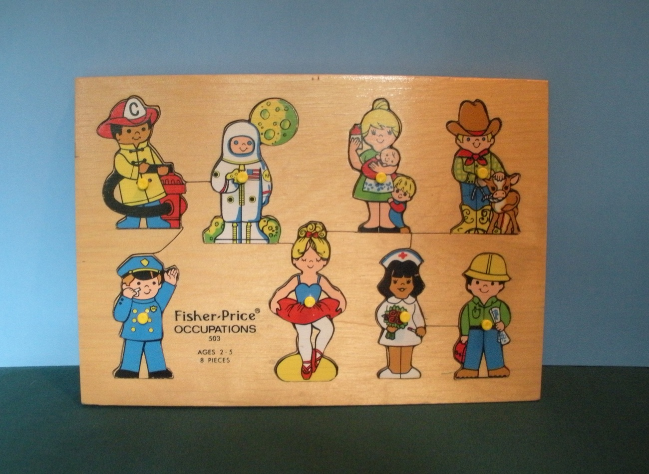 Vintage Fisher Price #503 Occupations Pick Up 'N Peek Wood Puzzle EXC++!