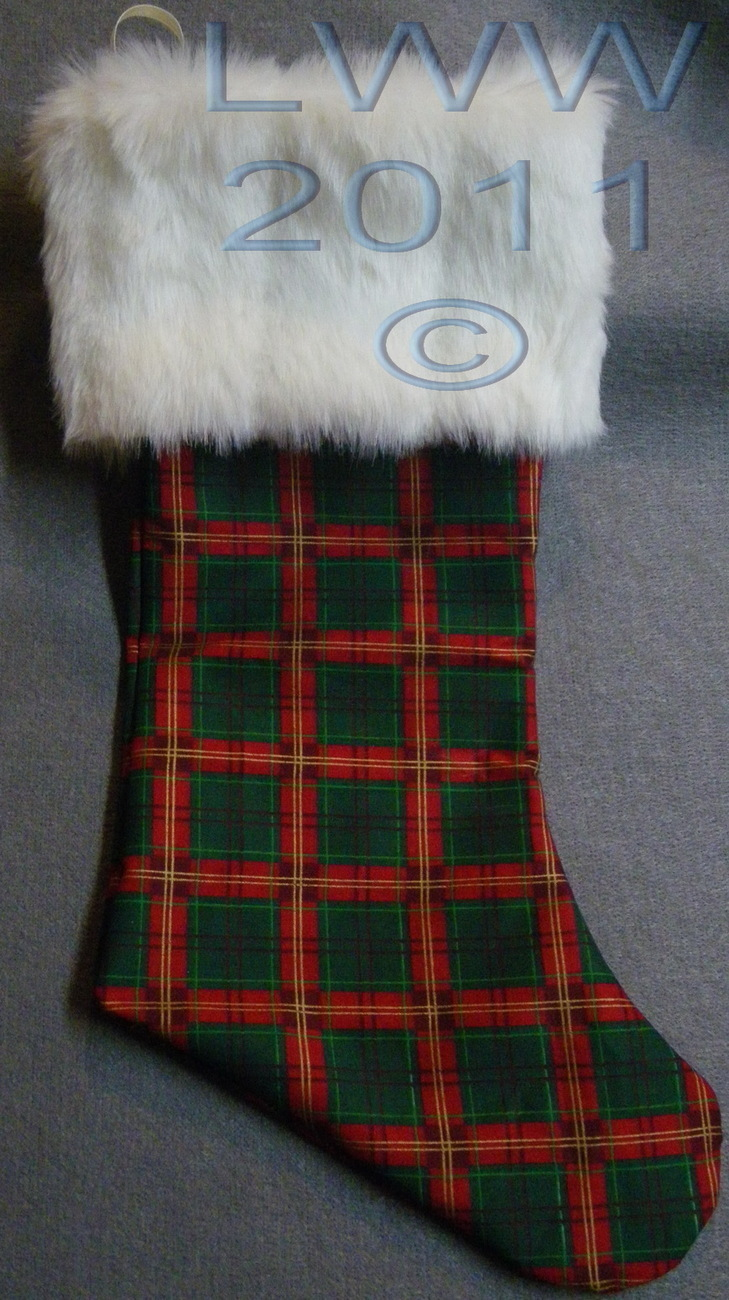 Primary image for Handmade Red & Green Plaid with White Faux-Fur Holiday Christmas Stocking Large