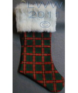 Handmade Red & Green Plaid with White Faux-Fur Holiday Christmas Stockin... - $12.99