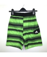 Adidas Boy's M Swim Trunks Elastic Waist Logo Stripes Green Swimwear NWT... - $16.99