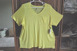 Calvin Klein 3X Shirt Top, Variegated Yellow and Solid Weave - $37.00