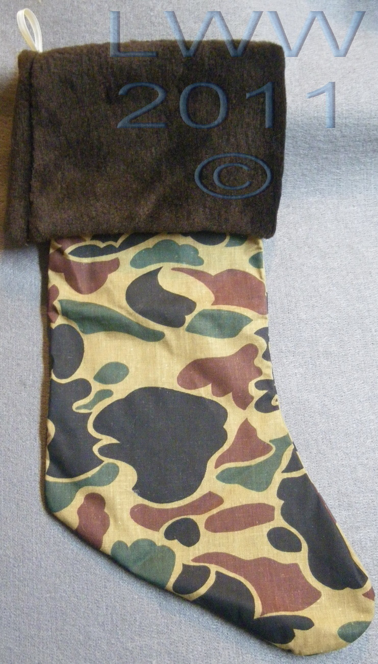 Primary image for Handmade Green Camo Camoflauge with Faux-Fur Holiday Christmas Stocking Large
