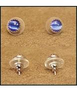 BLUE STONE POST EARRINGS    #424KAH - $3.53
