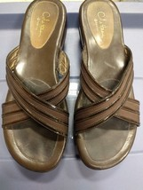 Cole Haan Brown G Series Slip On Wedge Platform Sandals Size 8 AA ~ D24140 - $29.69