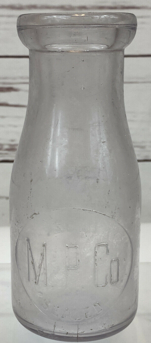 "Primary image for M.P. Co. Embossed Milk Bottle 10 oz 1/3 quart Battle Creek MI ULTRA RARE 6"" Tall"