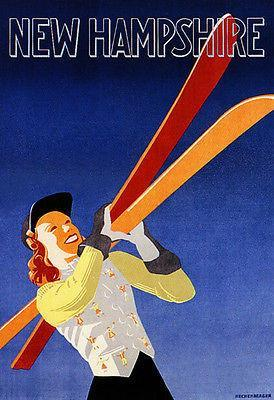 Primary image for 1940's - New Hampshire - Ski - Travel Advertising Poster