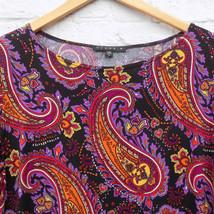 Paisley Shift Dress Boho Made in USA Stretch Size Large Bohemian 3/4 Sle... - $24.74