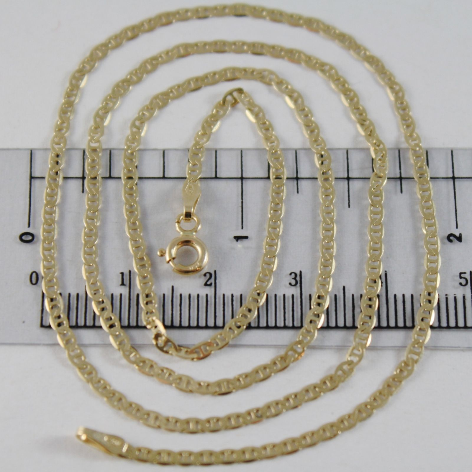 18K YELLOW GOLD CHAIN 2 MM FLAT NAVY MARINER LINK 19.70 INCHES MADE IN ITALY