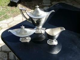 3 Pcs Gorham Sterling Holloware A9161 Band Monogram Coffee Pot Creamer Sugar Lid - $1,249.99