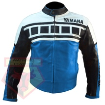 YAMAHA 6728 SKY BLUE MOTORBIKE MOTORCYCLE ARMOURED COWHIDE LEATHER JACKET - $194.99
