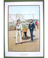 GERMAN IMPERIAL NAVY Uniforms Seamen - 1899 Color Litho Print - $12.15