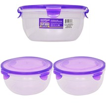 Round Food Storage Plastic Containers & Clip Lock Lid 51 fl oz 2-Pack Re... - $8.86
