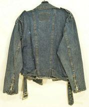 Jordache jeans jacket SZ M denim moto style vintage zippers pockets belt dark image 4