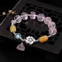 Authentic Healing Pink Quartz Beads Bracelet Lotus Charm and Turquoise - $74.95